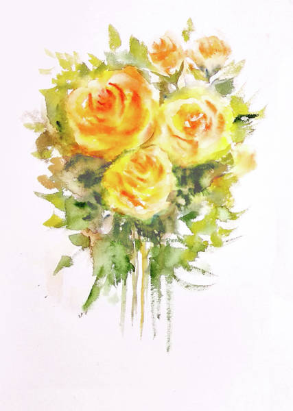 Wall Art - Painting - Three Yellow Roses by Asha Sudhaker Shenoy