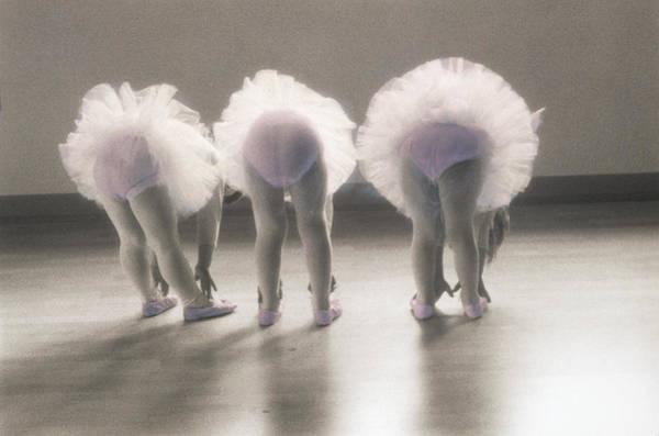 Bending Photograph - Three Young Ballerinas 4-6 Bending Over by Barbara Peacock
