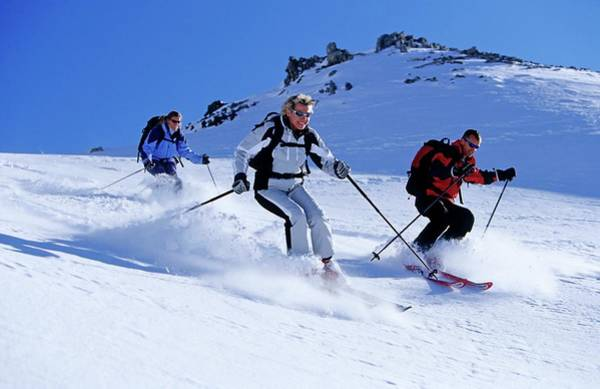 Ski Resort Photograph - Three Young People, Two Women And A by Bernard Van Dierendonck / Look-foto