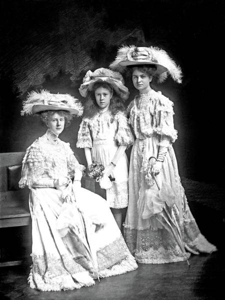 Painting - Three Young Women, Probably Of The Riley Family, Dressed In Lace And Hats, 22 April 1908 By  Stanley by Celestial Images