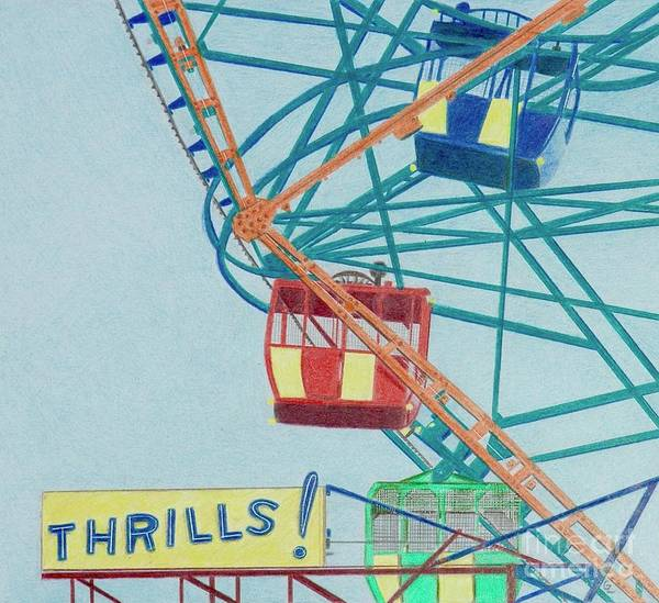 Teal Drawing - Thrills by Glenda Zuckerman