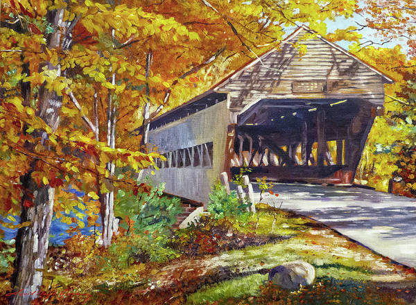 Wall Art - Painting - Through The Covered Bridge by David Lloyd Glover