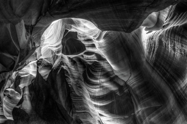 Photograph - Through The Shadows - Antelope Canyon Monochrome by Gregory Ballos