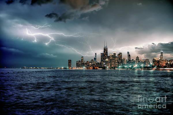 Lake Michigan Photograph - Thunder And Lightning In The Dark City II by Bruno Passigatti