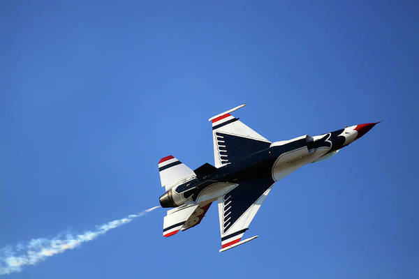 Photograph - Thunderbird 6 Flies Overhead - Air Force Thunderbirds - Usaf F-16 by Jason Politte