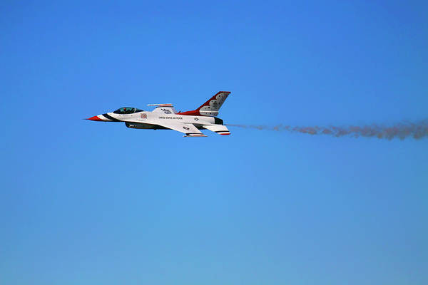Photograph - Thunderbird 6 Flying Low - Air Force Thunderbirds - Usaf F-16 by Jason Politte