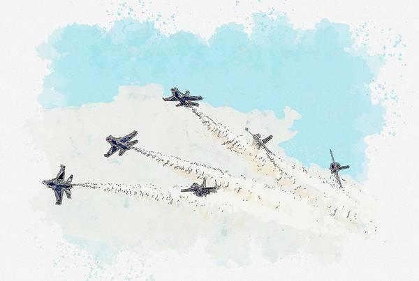 Painting - Thunderbird Delta Break Watercolor By Ahmet Asar by Ahmet Asar