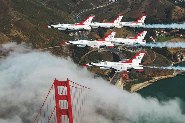 Wall Art - Photograph - Thunderbirds Flying Over The Golden Gate Bridge by USAF Ashley Corkins