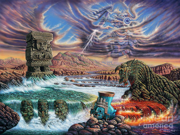 Wall Art - Painting - Thundering Gods by Ricardo Chavez-Mendez