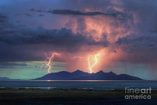 Photograph - Thunderstorm Over Antelope Island by Spencer Baugh