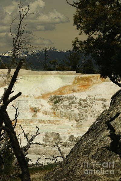 Photograph - Thunderstorm  Over Mammoth Hot Springs by Christiane Schulze Art And Photography
