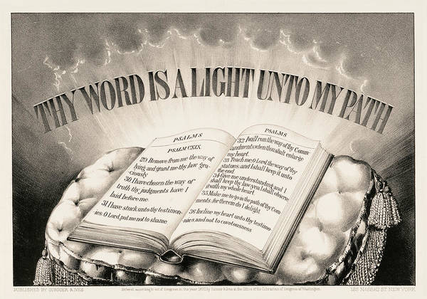 Wall Art - Painting - Thy Word Is A Light Unto My Path, 1872 by American School