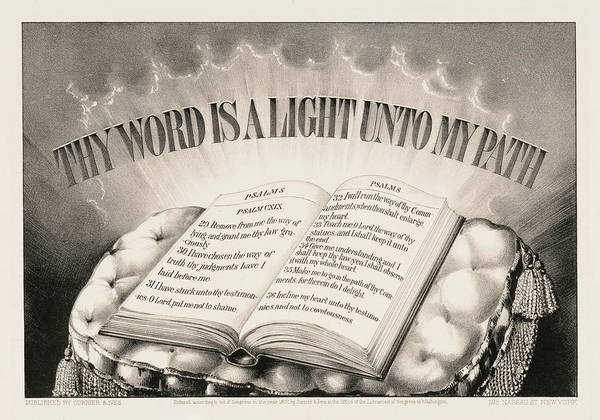 My Son Painting - Thy Word Is A Light Unto My Path, 1872 by Currier And Ives