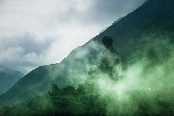 Aspiration Wall Art - Photograph - Tian Tan Buddha On Hill In Clouds by Merten Snijders