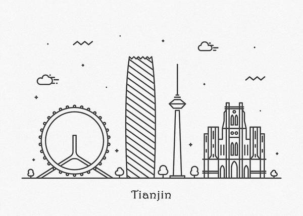Drawing - Tianjin Cityscape Travel Poster by Inspirowl Design