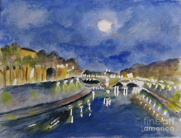 Painting - Tiber River At Night by Laurie Morgan