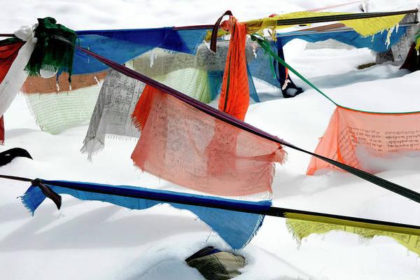 Tibetan Prayer Flags In Snow Art Print