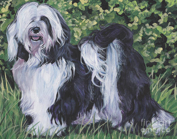 Wall Art - Painting - Tibetan Terrier In Grass by Lee Ann Shepard