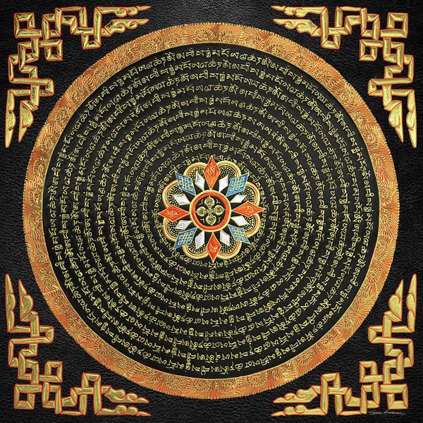 Digital Art - Tibetan Thangka - Buddhist Mandala With Double Vajra Over Black Leather  by Serge Averbukh