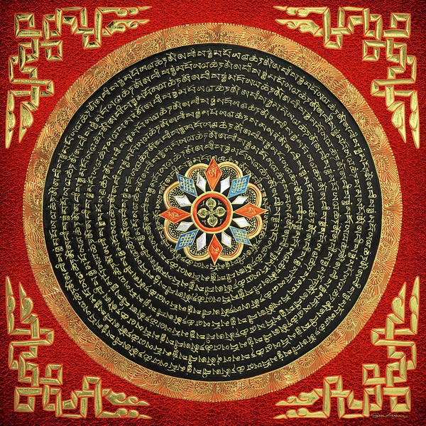 Digital Art - Tibetan Thangka - Buddhist Mandala With Double Vajra Over Red Leather by Serge Averbukh