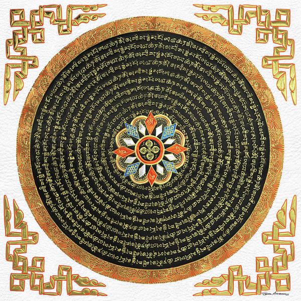 Digital Art - Tibetan Thangka - Buddhist Mandala With Double Vajra Over White Leather by Serge Averbukh