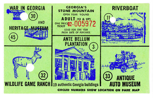 Wall Art - Photograph - Ticket To Stone Mountain Georgia by Paul W Faust - Impressions of Light