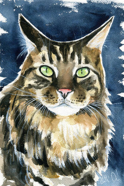 Painting - Tickie Maine Coon Portrait by Dora Hathazi Mendes