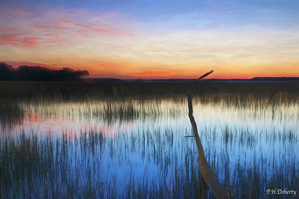 Lowcountry Digital Art -  Tidal Marshes Sunset by Phill Doherty