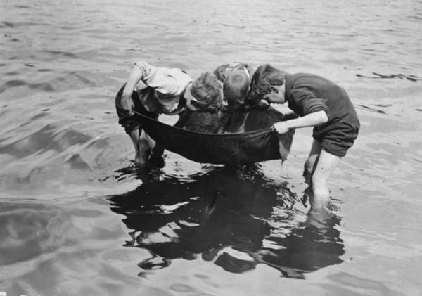 Bending Photograph - Tiddler Fishing by Topical Press Agency