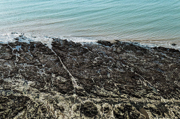 Bailey's Beach Photograph - Tide Out Over Rocky Inlet From Above by Liam Bailey