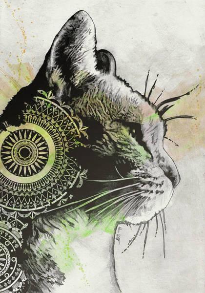 Wall Art - Drawing - Tides Of Tomorrow - Lime - Mandala Cat Drawing by Marco Paludet