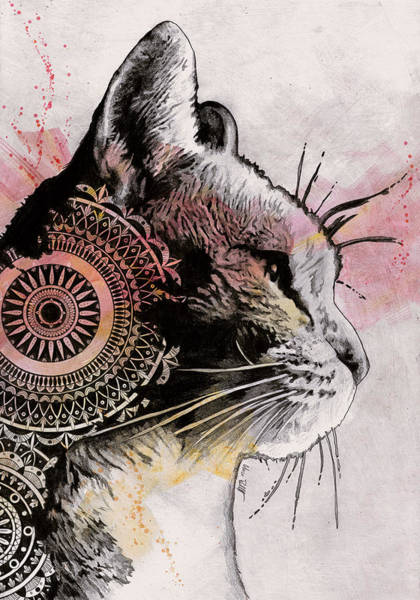 Pet Portrait Drawing - Tides Of Tomorrow - Mandala Tabby Cat Drawing, Animal Portrait by Marco Paludet