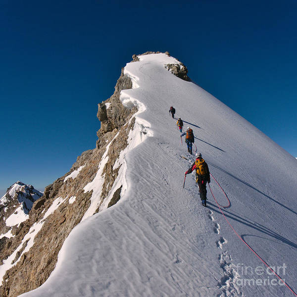 Wall Art - Photograph - Tied Climbers Climbing Mountain With by Taras Kushnir