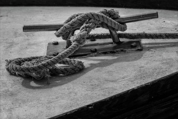 Photograph - Tied Up And All Docked Up Bw by Susan Candelario