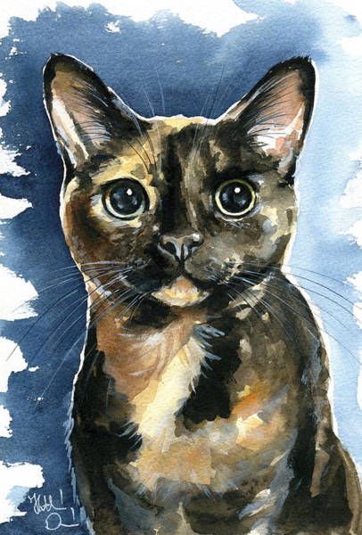 Wall Art - Painting - Tiffany Tortoiseshell Cat Painting by Dora Hathazi Mendes