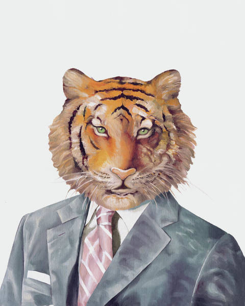 Animals In Suits Wall Art - Painting - Tiger In Armani by Animal Crew