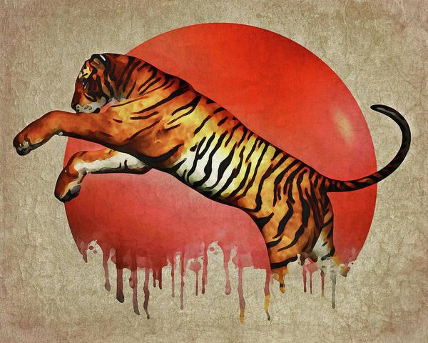 Digital Art - Tiger Fighting by Jan Keteleer