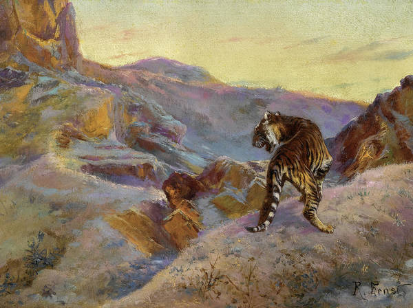 Wall Art - Painting - Tiger In The Mountains by Rudolf Ernst