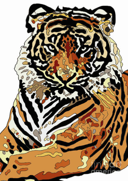 Wall Art - Digital Art - Tiger by Karen Elzinga