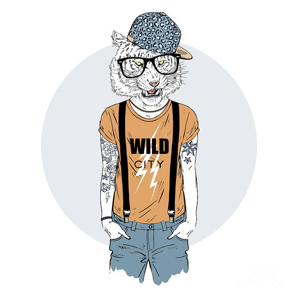 Wall Art - Digital Art - Tiger Man Hipster Dressed Up In Cool by Olga angelloz
