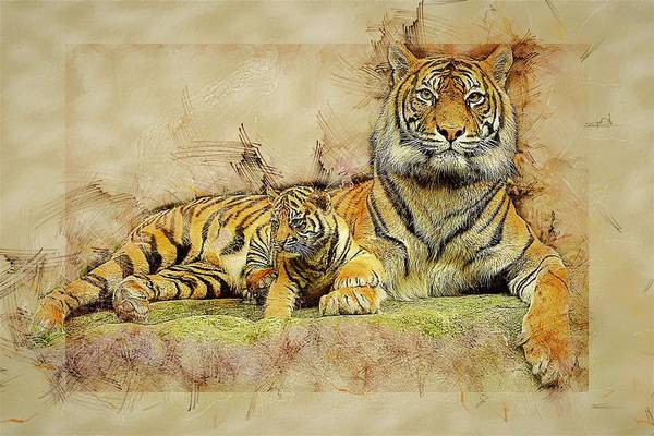 Parent Painting - Tiger Parent And Child by ArtMarketJapan