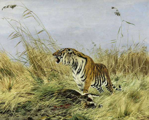 Wall Art - Painting - Tiger With Antelope by Richard Friese