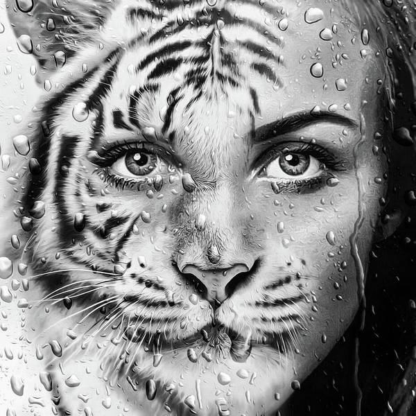 Wall Art - Digital Art - Tiger Woman by Matthias Hauser