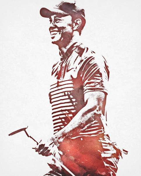 Wall Art - Mixed Media - Tiger Woods 2019 Masters Champion Pixel Art 101 by Joe Hamilton