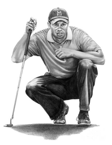 Woods Drawing -  Tiger Woods Crouching Tiger by Murphy Elliott