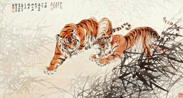 Wall Art - Painting - Tigers In The Bush by Zhang Shanzi
