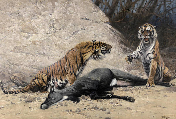Wall Art - Painting - Tigers by Richard Friese