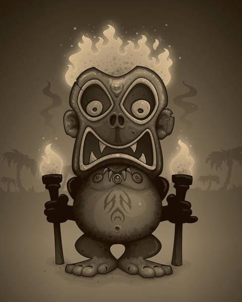 Pacific Digital Art - Tiki Munkee by John Schwegel