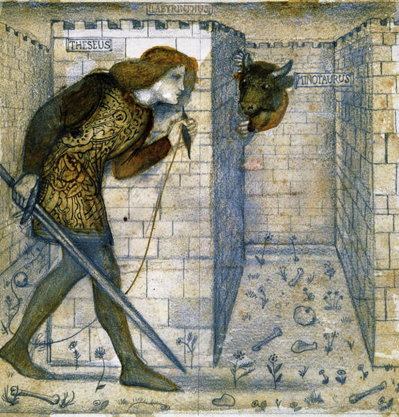 Wall Art - Painting - Tile Design - Theseus And The Minotaur In The Labyrinth by Edward Burne-Jones