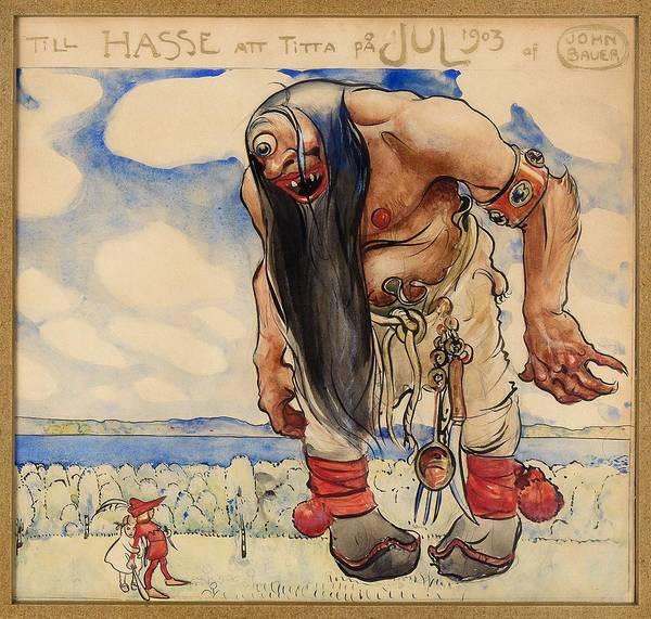 Wall Art - Painting - Till Hasse Att Titta Pa Jul - Digital Remastered Edition by John Bauer